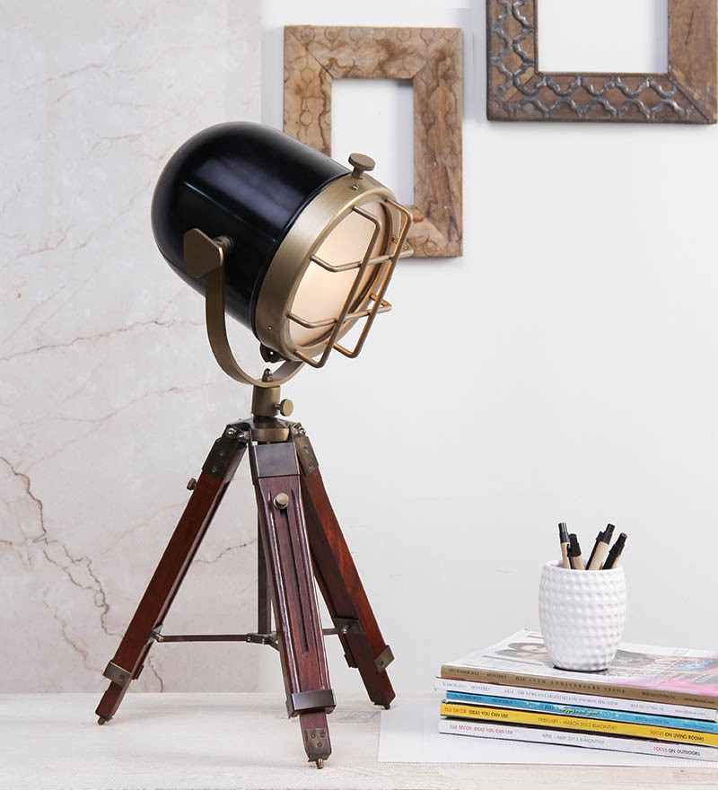 Brass Finish Tripod Table Lamp by Ethnic Roots