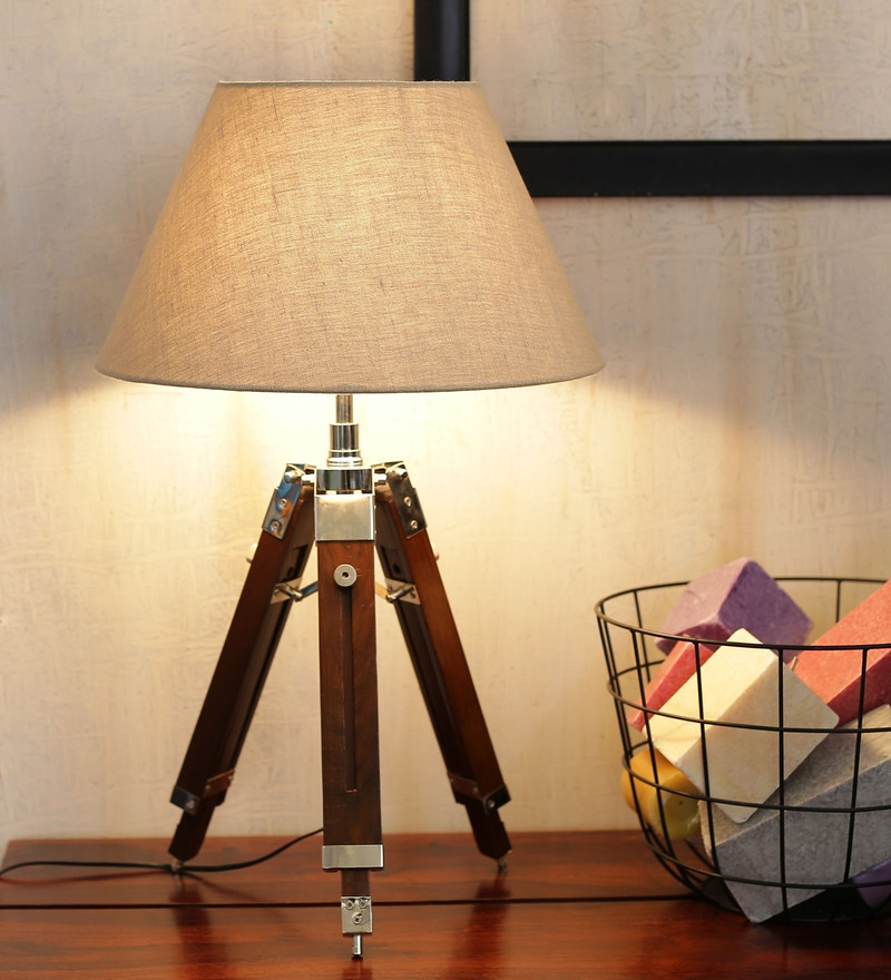 Mango Wood And Beige Color Tripod Table Lamp by Ethnic Roots