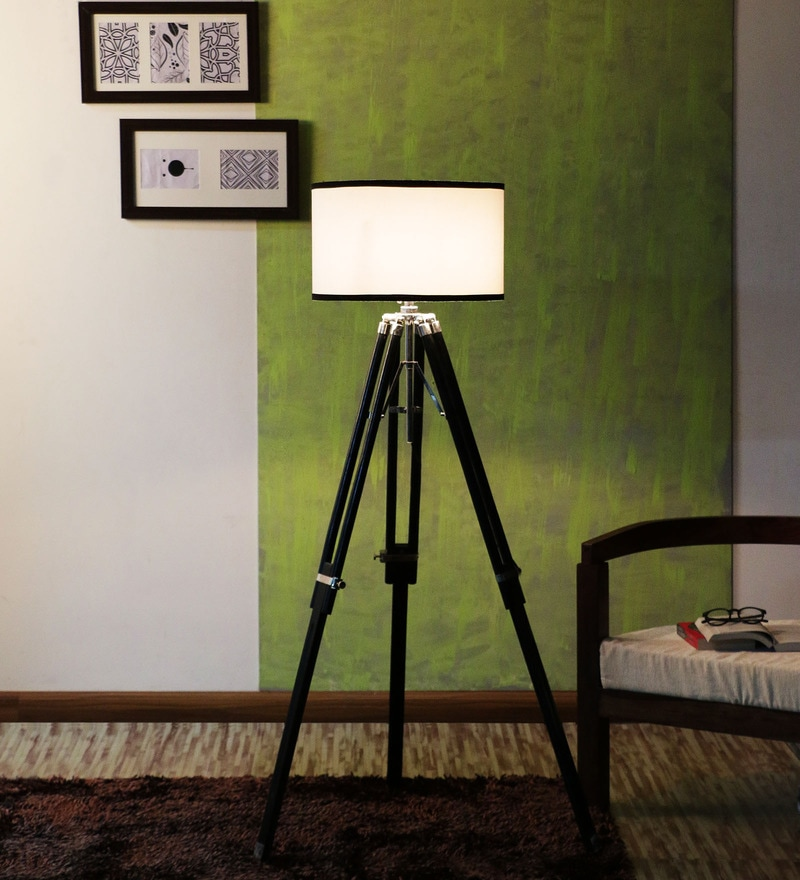Mango Wood And White Color Tripod Floor Lamp by Ethnic Roots