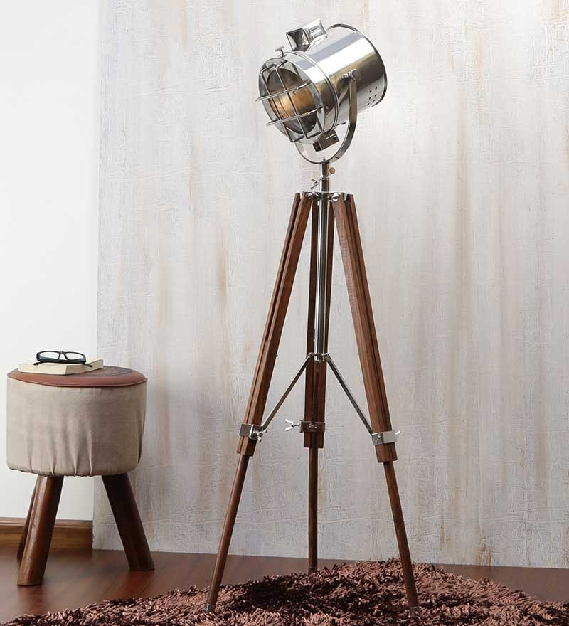 Brown Nickel Finish Mango Wood Tripod Floor Lamp by Ethnic Roots