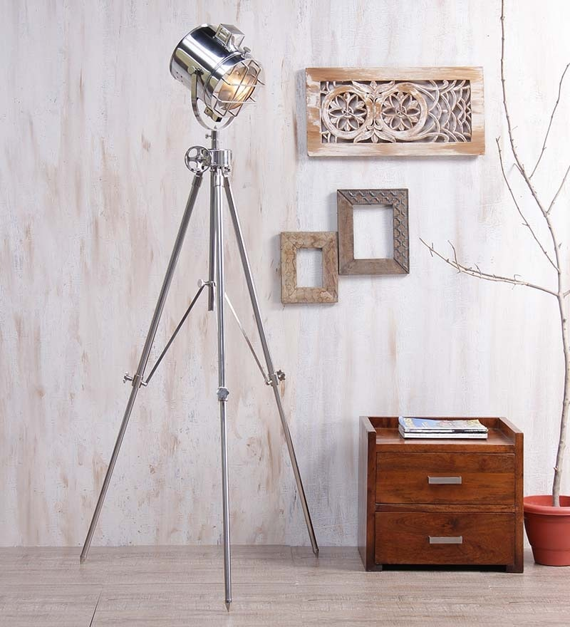 Nickel Finish Tripod Floor Lamp by Ethnic Roots