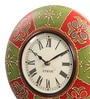 Multicolor MDF & Metal 12 Inch Round Emboss Painting Handmade Wall Clock by Ethnic Clock Makers