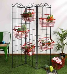 Eurostar Mild Steel Metal Folding Wall With Red Baskets - Set Of 6