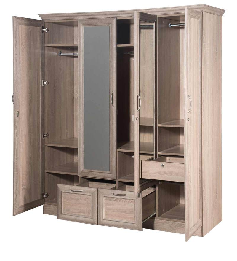 Buy Eudora N15 Four Door Wardrobe With Mirror In Sonoma