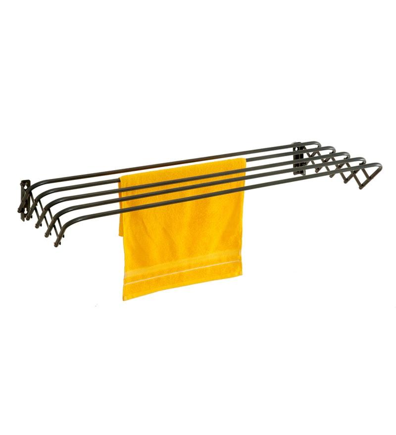 eurostar black mild steel wall mounted cloth dryer 80 cm