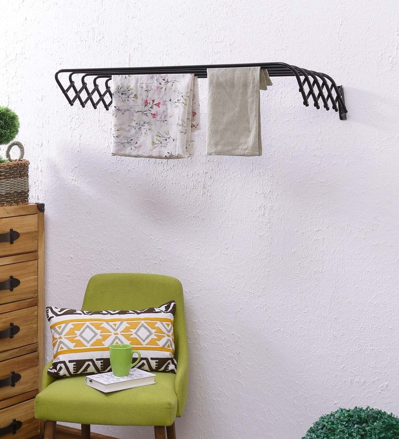 Eurostar Mild Steel Black Wall Mounted Cloth Drying Stand Hanger