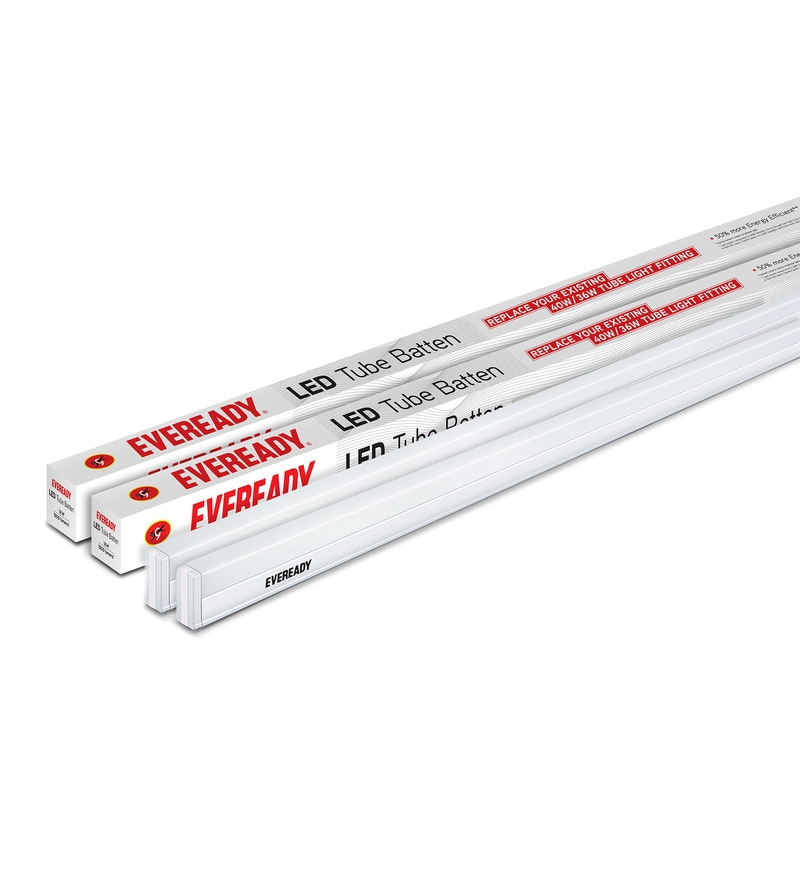 Eveready 6500K 100 Lumens 4 Feet 18 Watt Cool Day Light LED Tube Light Battens - Set of 2