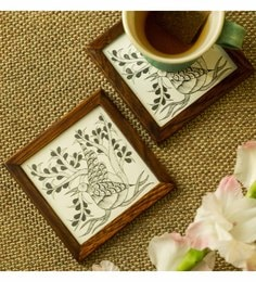 Exclusive Lane Gond Monotones Hand-Painted Coasters In Teak Wood