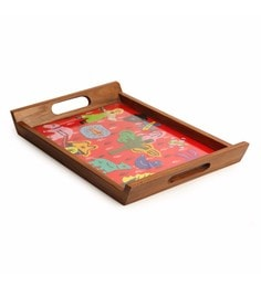 Exclusivelane Applique Handwork & Handcrafted Brown Teak Wood Tray