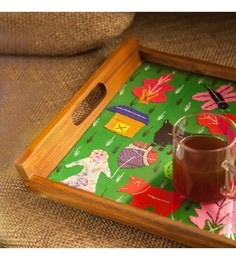 Exclusivelane Applique Handwork Brown Teak Wood Tray