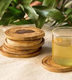Exclusivelane Brown Mango Wood Coasters & Stand - Set Of 7