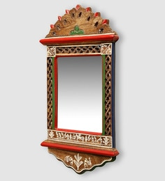 ExclusiveLane Brown Mango Wood Ethnic Warli Art Wall Mirror