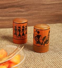 Exclusivelane Dancers On Shakers Warli Hand-Painted Ceramic Salt & Pepper Storage - Set Of 2