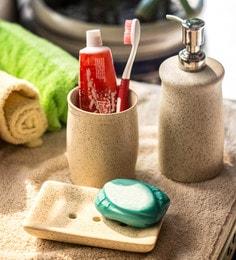 ExclusiveLane Elegant Off White Ceramic Bathroom Accessories - Set Of 3