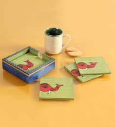 Exclusivelane Elephants Of The Green Sea Wooden Coasters With Holder - Set Of 7