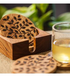 ExclusiveLane Floral Work Multicolour Wood Coasters - Set Of 5