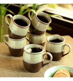 Exclusivelane Foggy Daybreak Ceramic Tea & Coffee Cups - Set Of 6