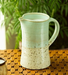 Exclusivelane Handcrafted Studio Pottery Glazed In Dual Tone Green & White Ceramic Jug