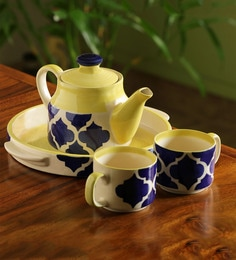 ExclusiveLane 'Sea-Tea' Handpainted Tea Cups & Kettle Set With Tray In Ceramic