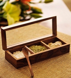 ExclusiveLane Sheesham Wood Hand Engraved Multi Utility Cum Spice Box With Spoon