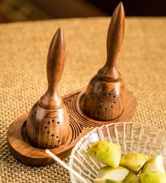 ExclusiveLane Sheesham Wood Unique Slanting Salt & Pepper Shaker With Tray
