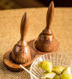 ExclusiveLane Sheesham Wood Unique Slanting Salt & Pepper Shaker With Tray