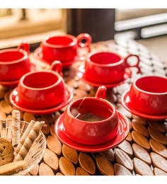 ExclusiveLane Studio Pottery Ceramic 110 ML Cups & Saucers - Set Of 6