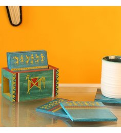 ExclusiveLane Warli Art Ocean Blue Pine Wood Coasters - Set Of 7