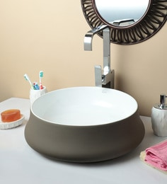 Exor 1952 Matt Finish Gray Brown Round Wash Basin