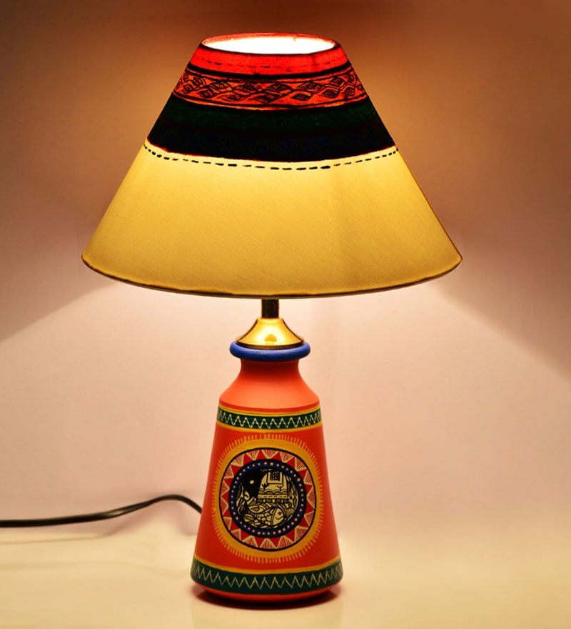 ExclusiveLane Orange & Cream Madhubani Tapered Lamp