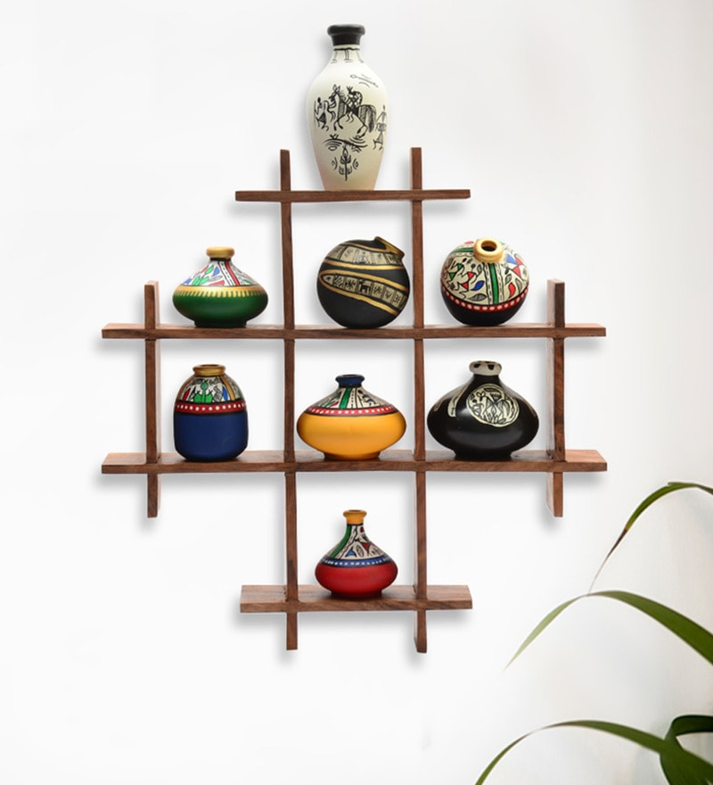 ExclusiveLane Multicolour Sheesham Wood & Terracotta 9-Piece Wall Hanging