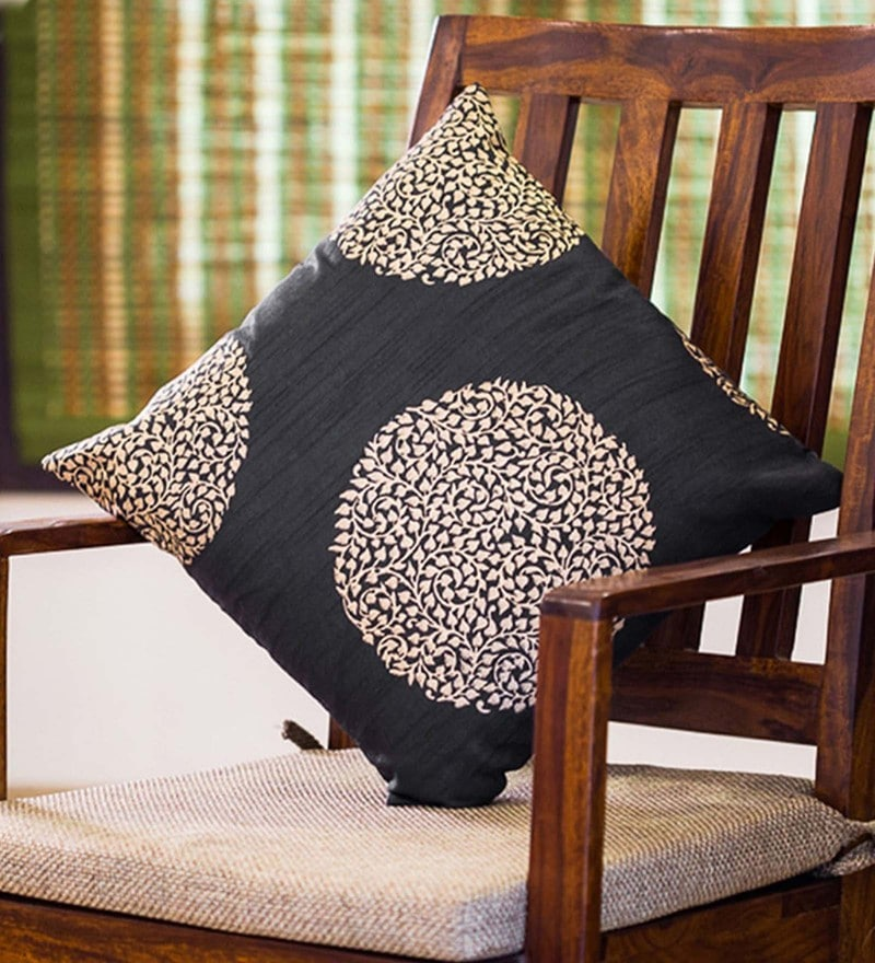 Exclusivelane Black & Golden Silk 16 x 16 Inch Handblock Printed Cushion Cover