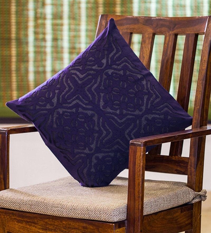 Exclusivelane Blue Cotton 16 x 16 Inch Applique Art Cushion Cover