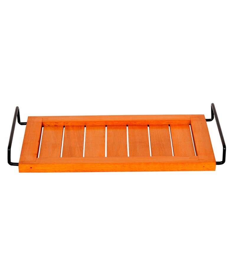 Exclusivelane Bright Orange Steam Beech Wood Serving Tray