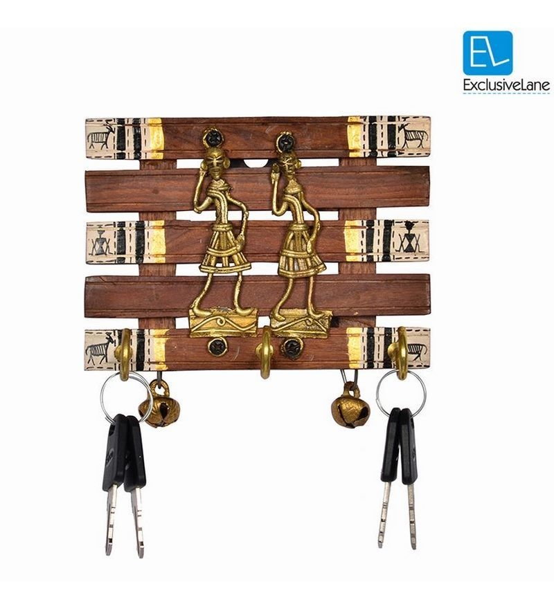 Brown Sheesham Wood & Brass Warli Art & Dhokra Hand painted Key Holder with Ghungroo by ExclusiveLane