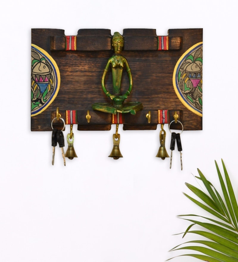 Brown Mango Wood & Brass Elegant Dhokra & Warli Key Holder by ExclusiveLane
