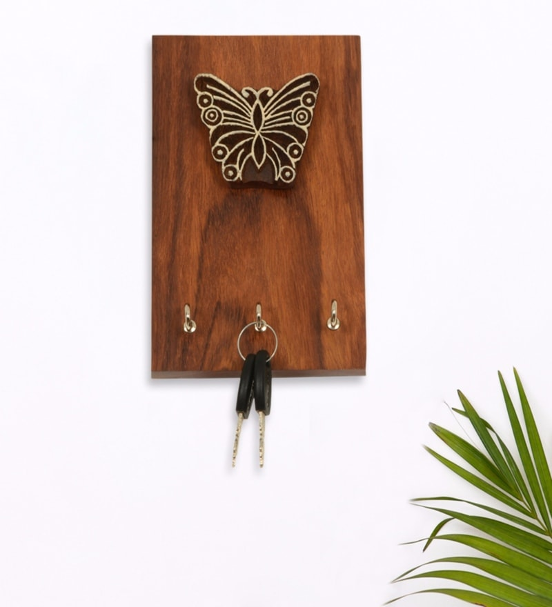 Exclusivelane Brown Sheesham Wood Butterfly Block Key Holder