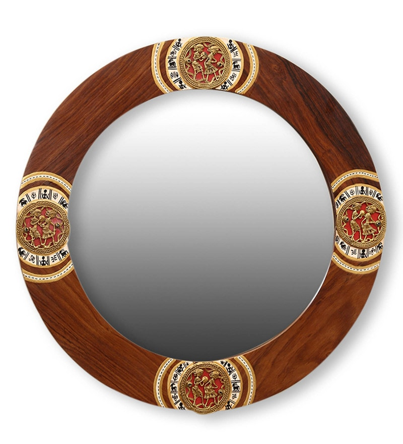 Brown Sheesham Wood Round Ethnic Warli And Dhokra Art Wall Mirror by ExclusiveLane