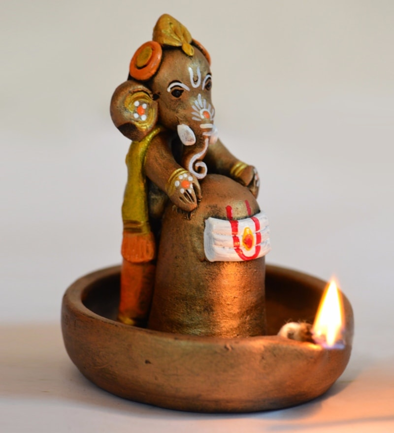 Exclusivelane Brown Terracotta Hand Painted Baby Ganesha Holding Lord Shiva in Pound