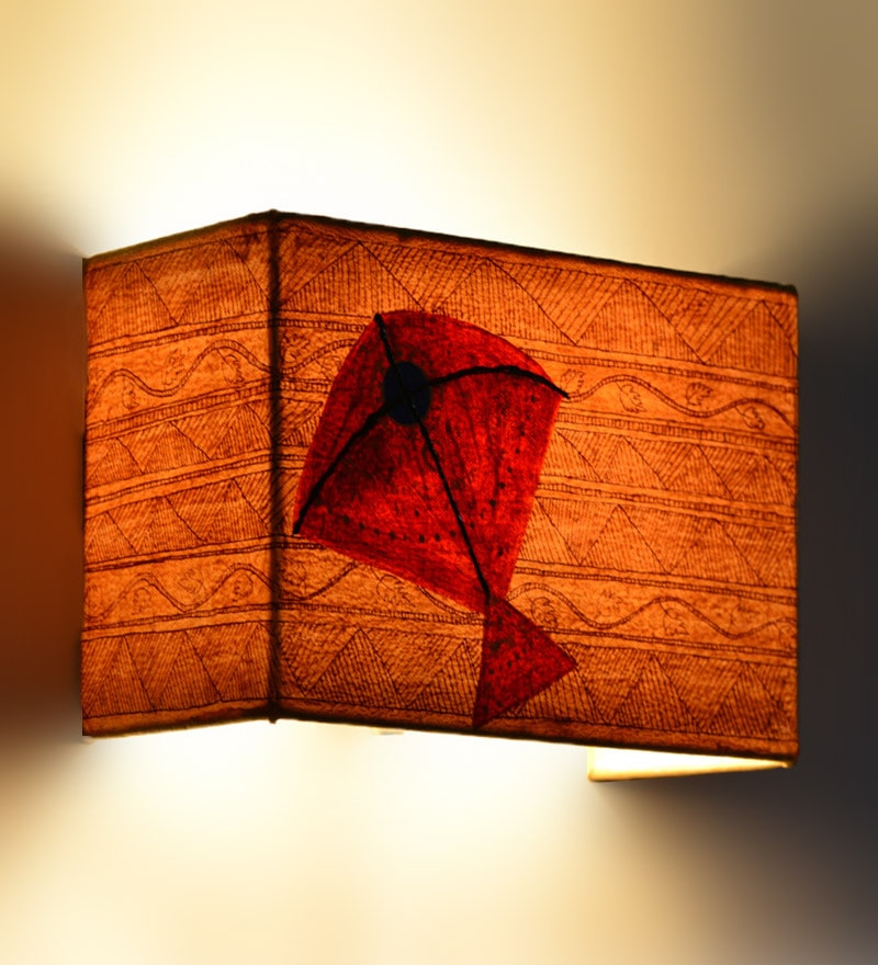 ExclusiveLane Beige Kite Canvas Wall Lamp