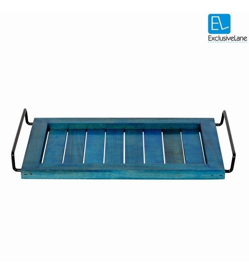 ExclusiveLane Blue Wooden Elegant Serving Tray