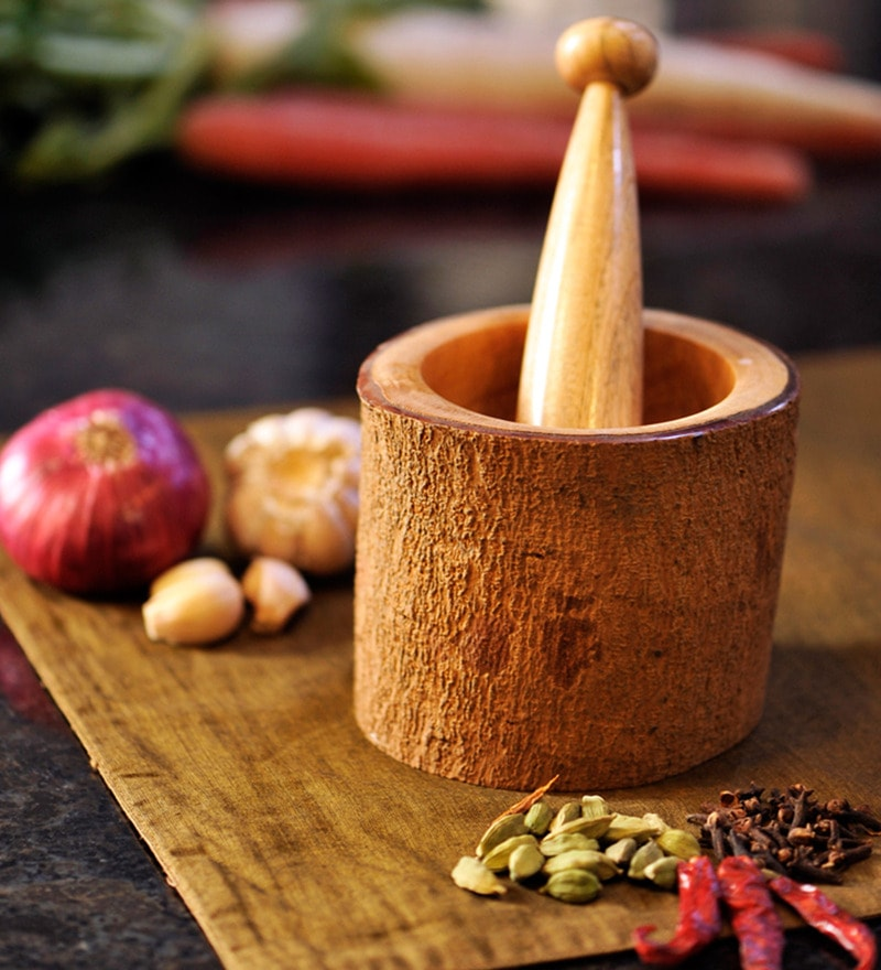 ExclusiveLane Handcrafted Brown Wooden Spice Mortar and Pestle
