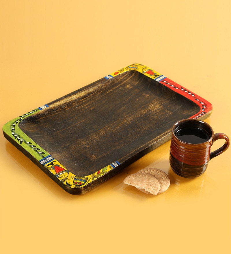 Exclusivelane Madhubani Hand-Painted Rectangular Treasure Tray