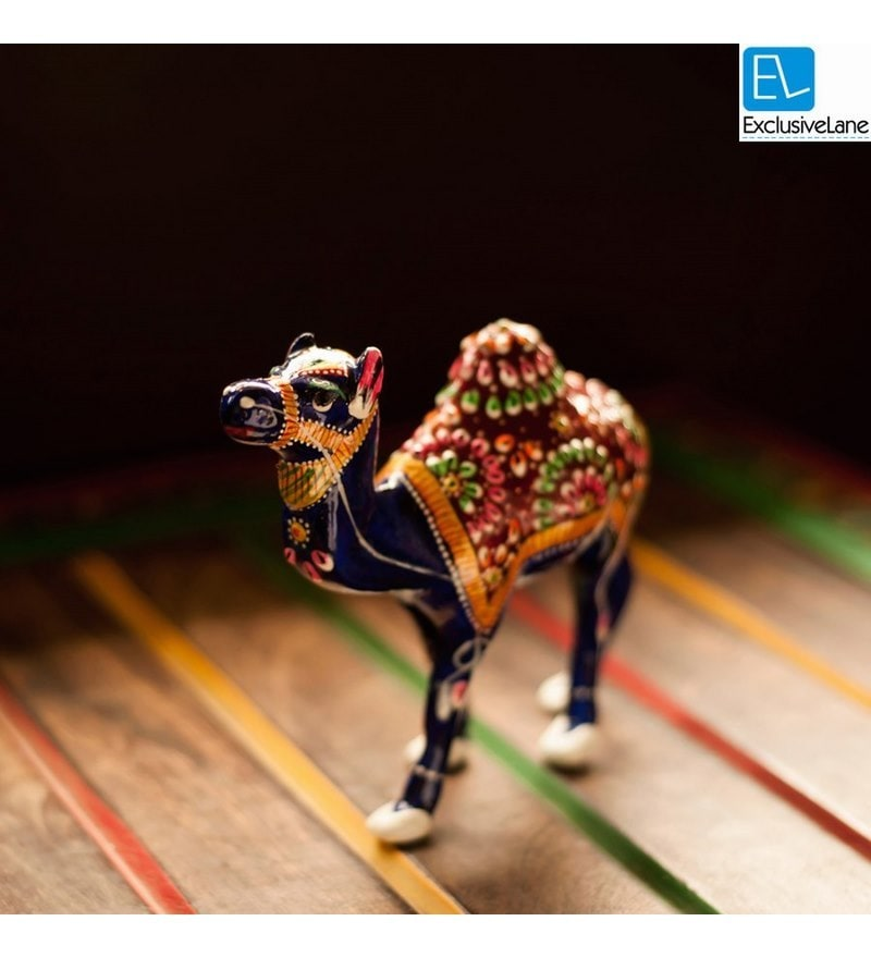 Exclusivelane Royal Blue Metal Meenakari Standing Camel Showpiece