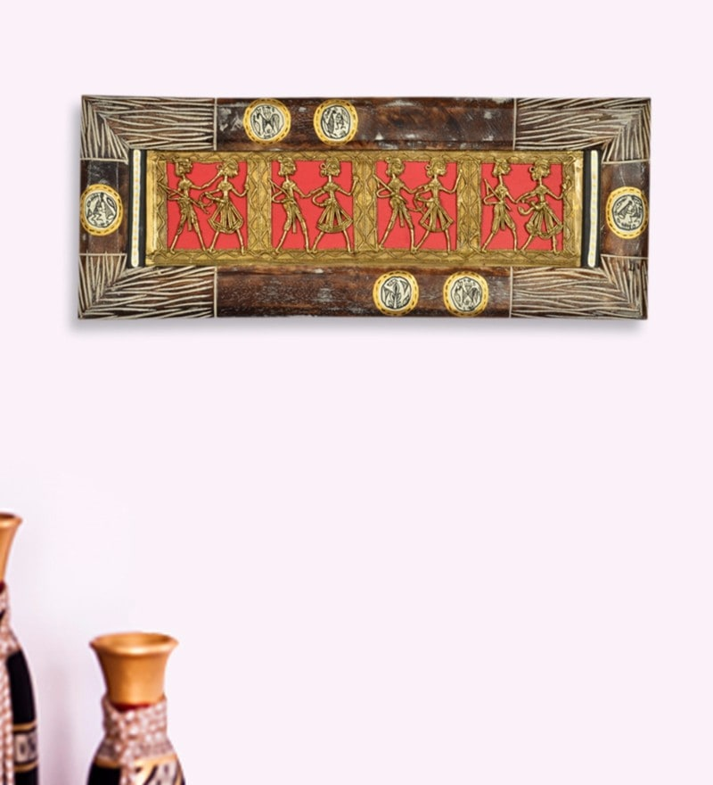 Exclusivelane Multicolour Mango Wood & Brass Dhokra Work & Warli Hand Painted Horizontal Wall Hanging