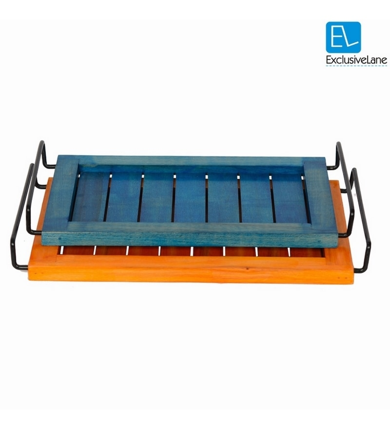 ExclusiveLane Blue and Orange Wood Serving Tray - Set of 2