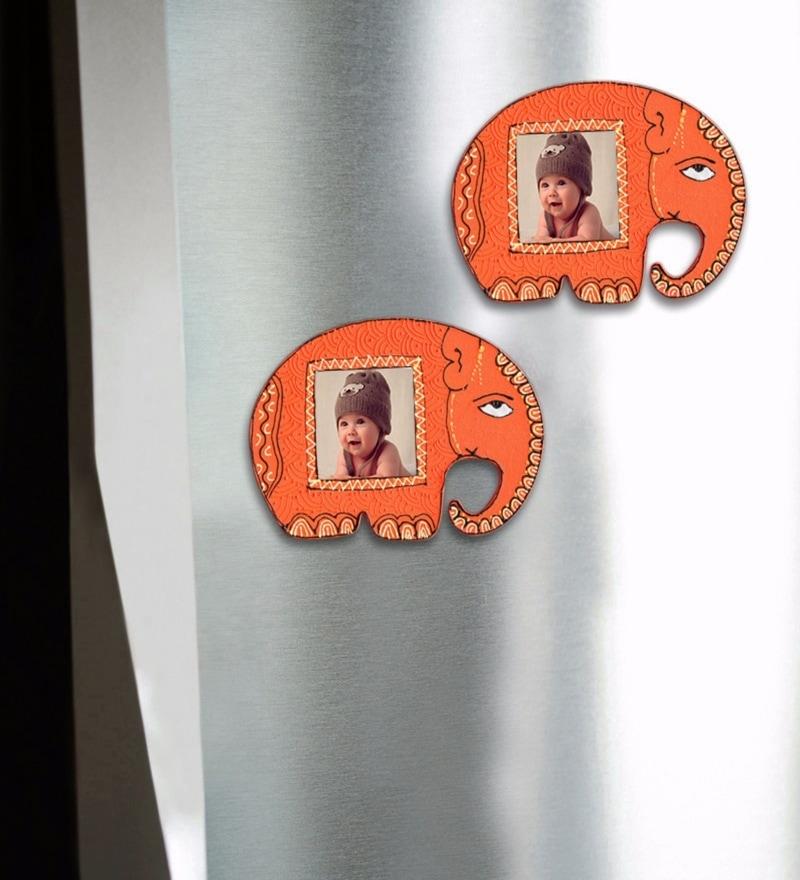 Orange Recycled Wood Fridge Magnet - Set of 2 by ExclusiveLane