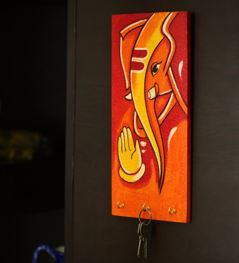Orange Recycled Wood Lord Ganesha Hand Painted Key Holder by ExclusiveLane