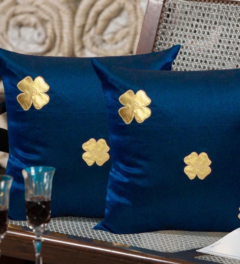 Exclusivelane Royal Blue Silk 16 x 16 Inch Floral Motif Cushion Cover - Set of 2