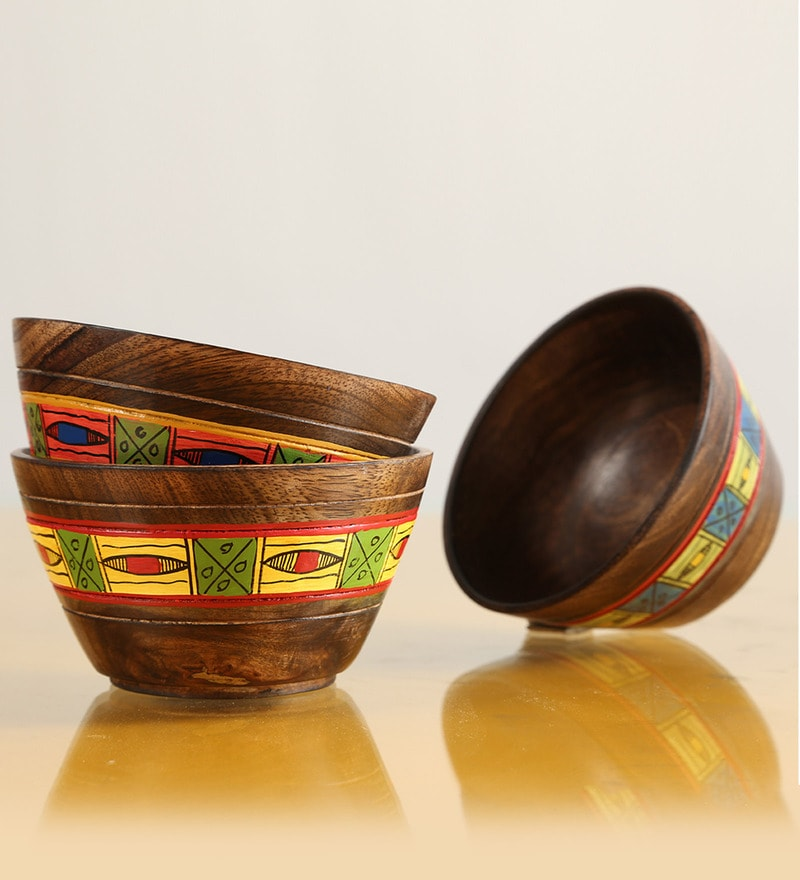 Exclusivelane Simply Ethnic Hand-Painted Round Shaped Bowls - Set of 3